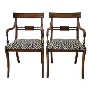 Mahogany Wood Open Armchairs - A Pair For Sale