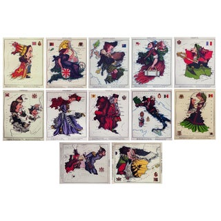 C. 1869 Fun Maps of Europe - Set of 12 For Sale