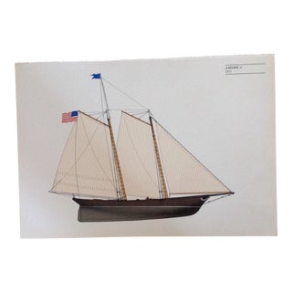 "Vintage Sailboat Lithoprint ""America"" For Sale"
