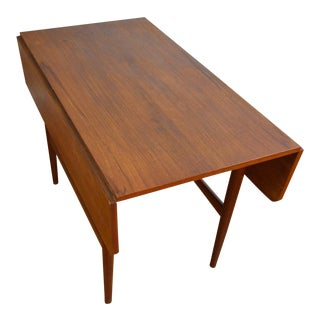 Danish Teak Drop Leaf Occasional Table For Sale