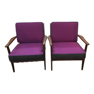 Pair Mid Century Purple/Blue Chairs For Sale
