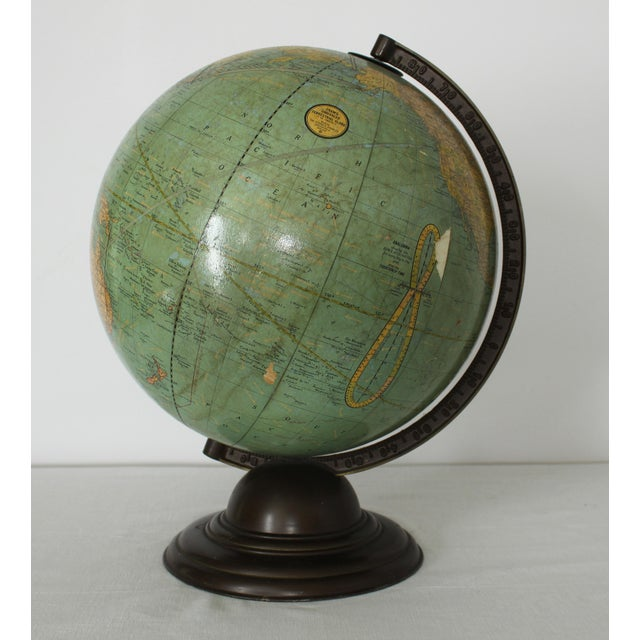 This vintage Terrestrial Crams Unrivaled Quality Globe made by The George F. Cram Co., Inc. Indianapolis IN, makes a...