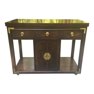 1970s Burl Campaign Chinoserie Flip Top Server Bar Cart by Thomasville For Sale