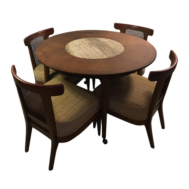 Mid-Century Round Marble Insert Dining Table & Chairs - Image 1 of 11