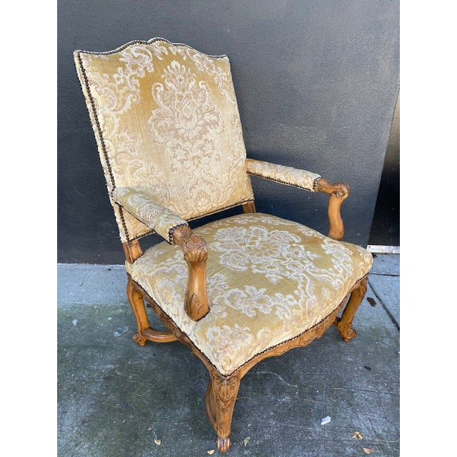 Single 18th C. French Regence Walnut Carved Arm Chair For Sale - Image 11 of 12