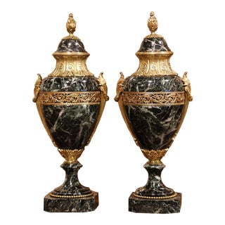 19th Century French Carved Green Marble and Gilt Bronze Cassolettes - a Pair For Sale
