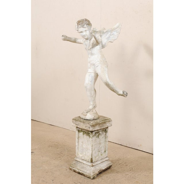 Early 20th Century Early 20th Century French Antique Cupid Garden Statue For Sale - Image 5 of 12