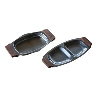Small Danish Modern Stainless Serving Trays - a Pair For Sale