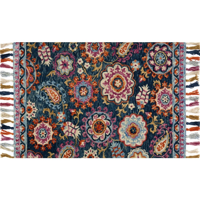 """Transitional Loloi Rugs Farrah Rug, Navy / Plum - 1'6""""x1'6"""" For Sale - Image 3 of 3"""