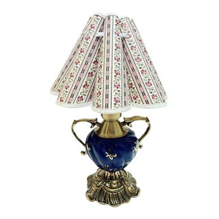 Gustavian Style Blue & Gold Table Lamp For Sale