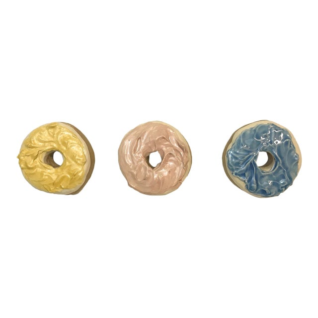 Donuts Glazed Ceramic Wall Art - Set of 3 For Sale
