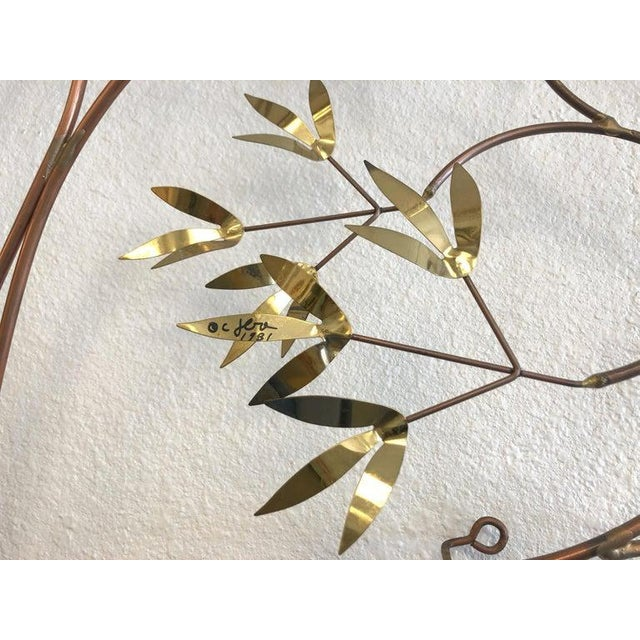 1980s Copper and Brass Tree Wall Sculpture by Curtis Jeré For Sale - Image 5 of 8