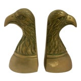Image of Vintage Brass Bald Eagle Bookends - A Pair For Sale