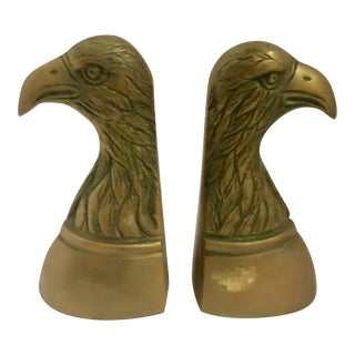Vintage Brass Bald Eagle Bookends - A Pair