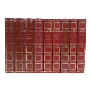 French Leather Bound Books S/9 For Sale
