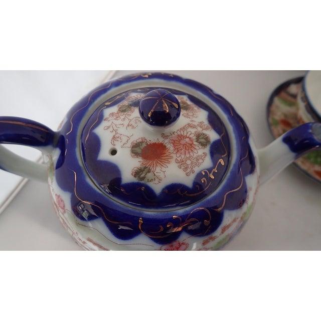 Blue Antique Japanese Tea Set For Sale - Image 8 of 11
