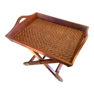 Campaign Style Woven Bamboo Folding Coffee Table With Tray For Sale