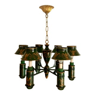 Vintage Painted Green and Gold Tole Chandelier For Sale