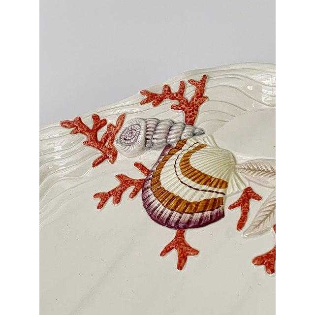 Coastal Vintage Fitz & Floyd Ceramic Sea Shell Oyster Charger Serving Platter For Sale - Image 3 of 12