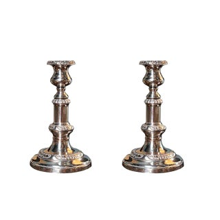 PAIR OF SHEFFIELD SILVER CANDLESTICKS For Sale