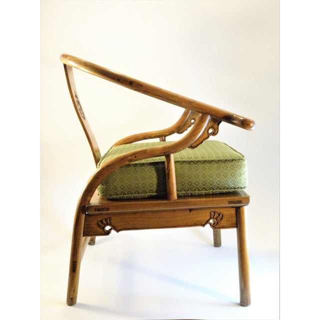 Asian Vintage Chinese Horseshoe Elm Wood Chair For Sale - Image 3 of 13