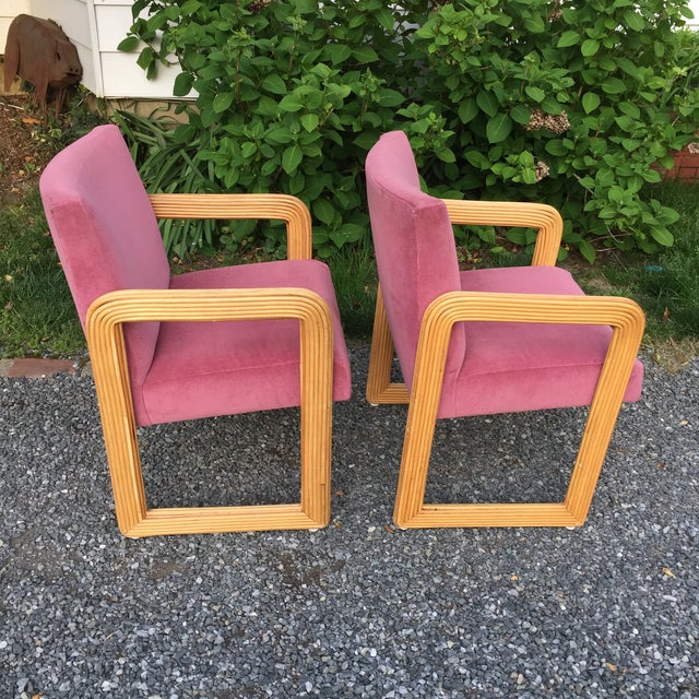 1970s Gabriella Crespi Style Pencil Reeded Velvet Chairs - a Pair For Sale - Image 5 of 13