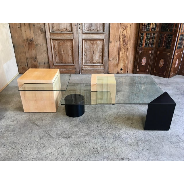 Brown Late 20th Century Modern Geometric Wood and Glass Multi-Level Coffee Table For Sale - Image 8 of 8