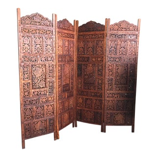 Mid Century Modern Hand Carved Teak Wood Four Panel Screen Divider For Sale