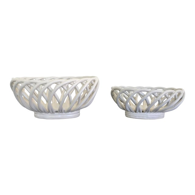 Mid 20th Century White Ceramic Open Weave Nesting Bowl Set - a Pair For Sale