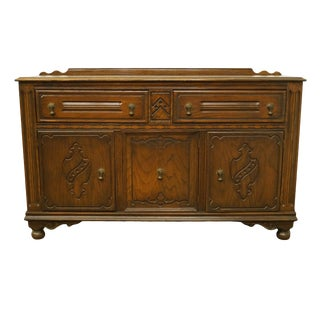 Bowers Brothers Co. Bloomington, Indiana Solid Oak English Revival Jacobean Style Sideboard For Sale