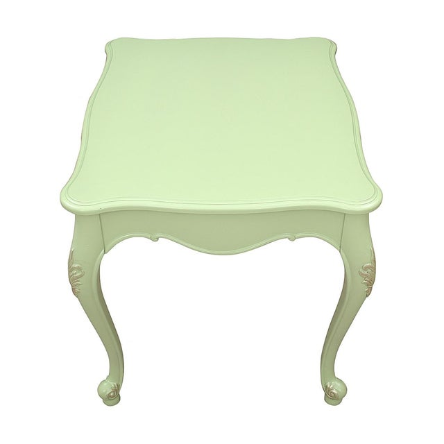 Solid wood Queen Anne side tables lacquered in matte Apple Green. Theses sturdy tables have been hand refinished and are...