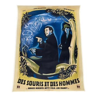 "Des Souris Et Des Hommes ""Of Mice & Men"" Steinbeck, French Movie Poster C.1949 For Sale"