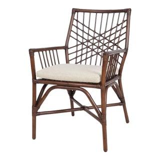 Harper Arm Chair, Coffee, Rattan For Sale