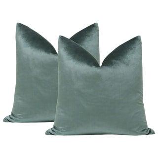 "22"" Italian Silk Velvet Pillows in Aegean - a Pair For Sale"