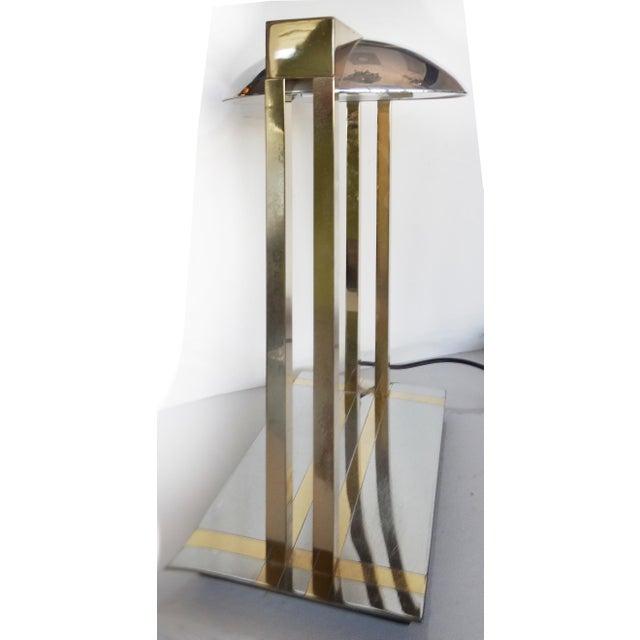 1970's Chrome & Brass Modernist Desk Lamp For Sale - Image 4 of 9