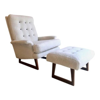 Mid 20th Century Milo Baughman Lounge Chair and Ottoman For Sale