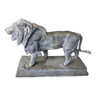 Late 19th Century Alf Barye Lion Sculpture in Zinc For Sale