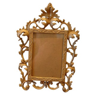 Vintage Cast Bronze Baroque Picture Frame For Sale