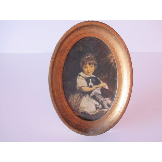 Petite Oval Florentine Print of Girl and Dog For Sale In Miami - Image 6 of 6