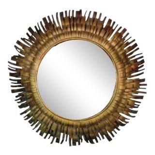 Mid-Century Brutalist Style Gold Sunburst Mirror