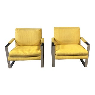 Pair of Milo Baughman for Thayer Coggin Chrome Lounge Chairs For Sale