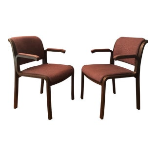 Thonet Bentwood Upholstered Arm Chairs- A Pair For Sale