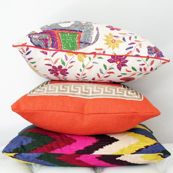 """Orange Linen Pillow Covers - a Pair 18""""sq - Image 3 of 4"""