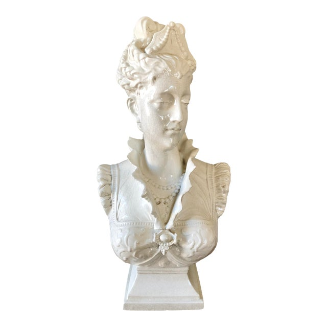Vintage White Italian Pottery Bust of a Woman For Sale