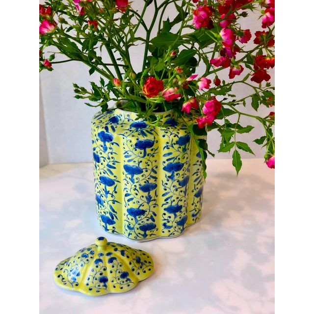 Chinoiserie Urn in Yellow and Blue With Lid For Sale - Image 12 of 13