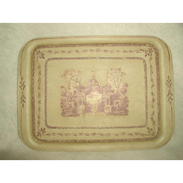 Unique French early 1900's trompe L'oeil metal tole tray hand painted scene of beautiful lavender as main hue with brown...