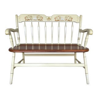 Ethan Allen Hitchcock Style Arrow Back Ivory Decons Bench For Sale