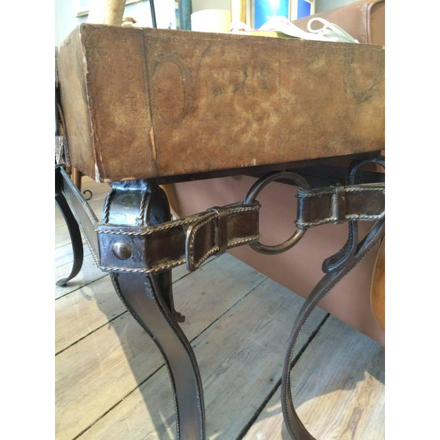World Map Suitcase Table With Leather Straps and Buckles For Sale - Image 4 of 11