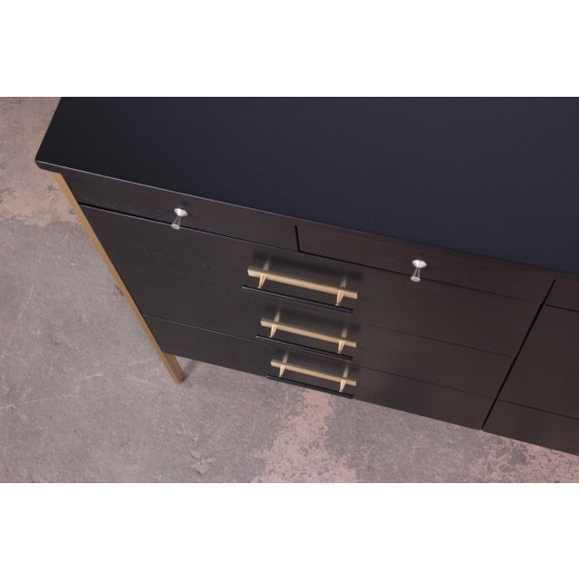 Brass Paul McCobb for Calvin Furniture Ebonized Dresser For Sale - Image 7 of 12