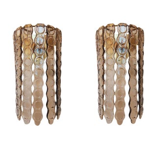 Pair of Mazzega Style Murano Glass Sconces For Sale